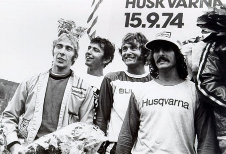 this is an image of the 1974 team of Jim Weinert, Tony DiStefano, Jim Pomeroy and Brad Lackey finished second in Stockholm, Sweden