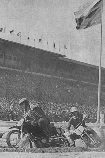 This is an image of 2 MX racers at the prague supercross circa 1956