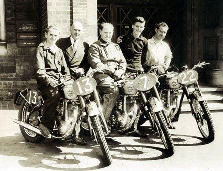 BSA Wrecking Crew of (from left) John Draper, manager Bert Perrigo, Fred Rist, American Tommy McDermott and Bill Nicholson