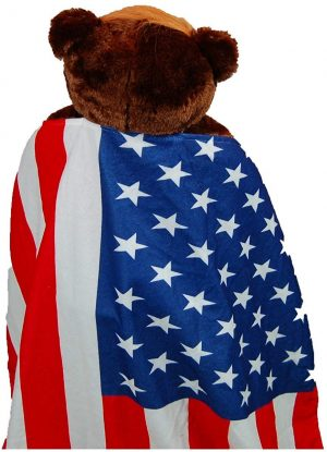 This is a full size image of the back of trumpy bear with his American Flag Cape