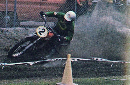 This is an image of Brian Kenney taking the 500cc-class win in the first-ever Daytona Supercros in 1971