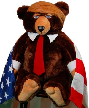 This is a full size image of the trumpy bear with his American Flag Cape