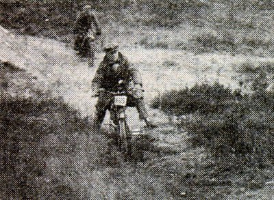 "Guy Taking to the first-ever motocross, or ""scramble"", aboard a 1924 Velocette, 250cc two-stroke"